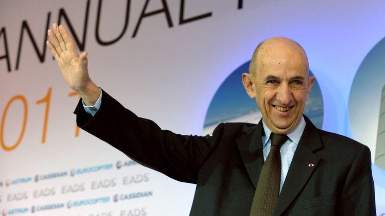 Louis Gallois, le président exécutif d'EADS, lors de la présentation des résultats 2011 du groupe, le 8 mars 2012 à Paris. (ERIC PIERMONT / AFP)