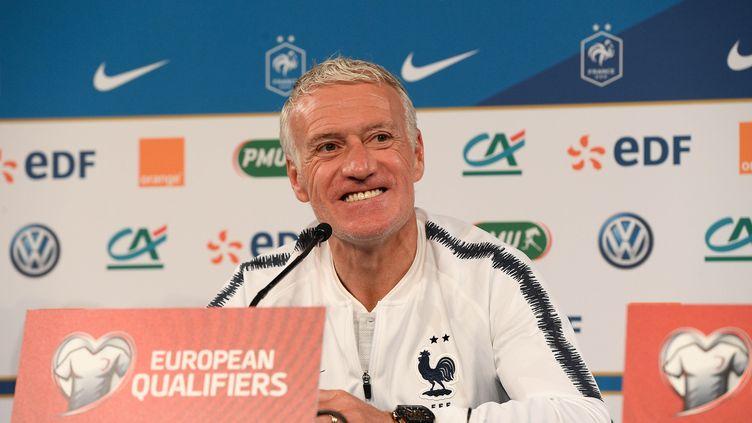 Le sélectionneur de l'équipe de France, Didier Deschamps, le 24 mars 2019 à Saint-Denis (Seine-Saint-Denis). (CHRISTOPHE SAIDI / SIPA)