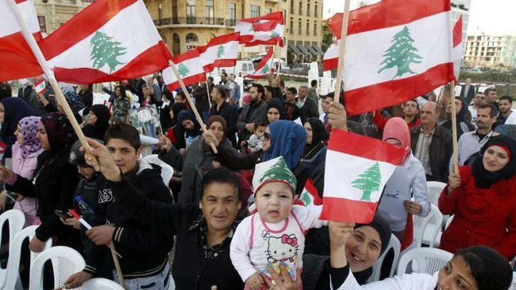 Manifestation pour l'armée libanaise à Beyrouth le 1er mars 2014. Des soldats libanais avaient été tués. (Bilal Jawich / ANADOLU AGENCY)