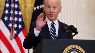 Le président américain Joe Biden donne une conférence de presse à la Maison Blanche, à Washington, le 25 mars 2021. (CHIP SOMODEVILLA / GETTY IMAGES NORTH AMERICA / AFP)