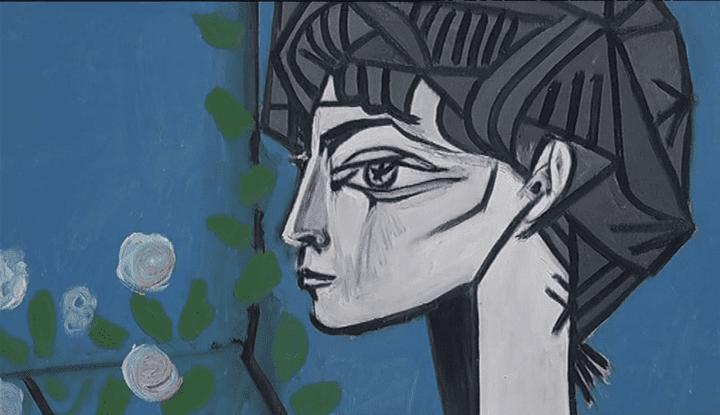 """""""Jacqueline with flowers"""" (1954) : portrait de Jacqueline Roque  (France 3 / Culturebox / capture d'écran)"""
