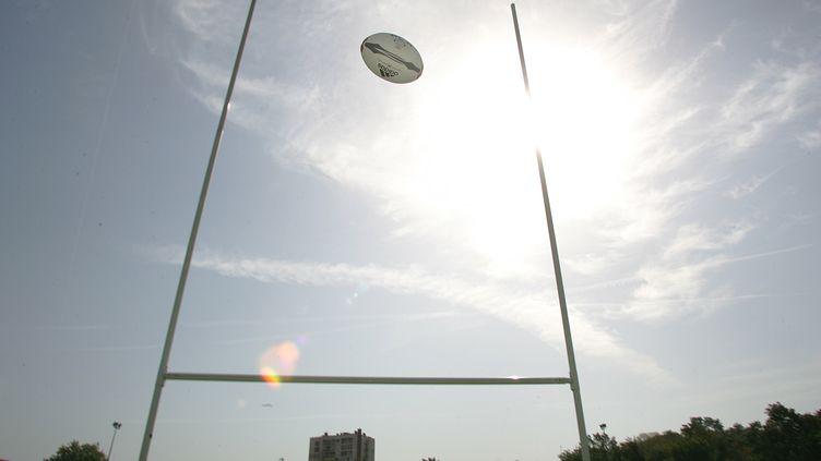 Un ballon de rugby passe entre les poteaux sur un terrain. (BORIS HORVAT / AFP)