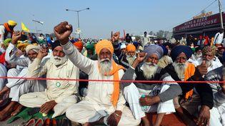 Des agriculteurs manifestent contre les lois de réforme agricole, le 2 décembre 2020 à New Delhi (Inde). Photo d'illustration. (HINDUSTAN TIMES / HINDUSTAN TIMES)