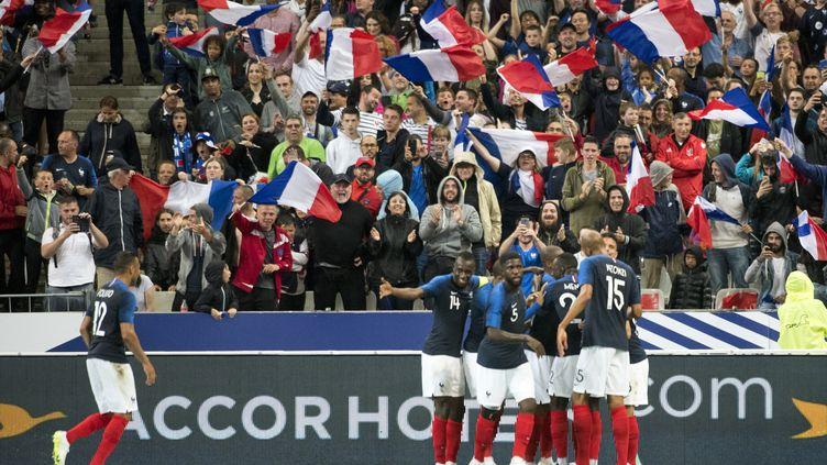 Des supporters se réjouissent après un but de l'équipe de France contre l'Irlande lors d'un match amicalau Stade de France (Saint-Denis), le 28 mai 2018. (ANDREW SURMA / NURPHOTO / AFP)