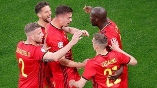 L'attaquant Romelu Lukaku a permis à la Belgique d'ouvrir le score face à la Russie dans ce match du groupe B de l'Euro, samedi 12 juin, à Saint-Pétersbourg. (ANTON VAGANOV / POOL)