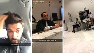 """Extraits de la """"story"""" Snapchat de Thomas Vergara, le compagnon de Nabilla Benattia, jeudi 19 mai 2016, à Nanterre (Hauts-de-Seine). (THOMAS VERGARA / SNAPCHAT)"""