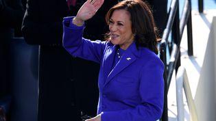 Kamala Harris lors de son investiture à la vice-présidence des Etats-Unis, le 20 janvier 2020, à Washington. (OLIVIER DOULIERY / AFP)