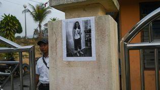 Une photo de Nora Quoirin collée devant un immeuble, à Seremban (Malaisie), le 6 août 2019. (- / AFP)
