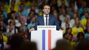 Emmanuel Macron, le 4 février 2017, en meeting à Lyon. (LAURENT CERINO / REA)