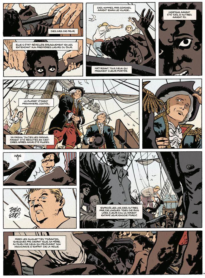 """Les esclaves malgache à bord du navire négrier. Planche extraite de la bande dessinée """"Les Esclaves oubliésde Tromelin"""" par Savoia. (© DUPUIS 2019)"""