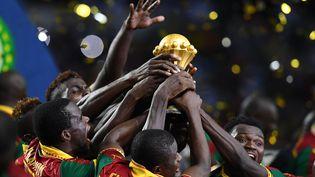 Les Lions indomptables du Cameroun, vainqueurs de la Coupe d'Afrique des Nations en 2017. (GABRIEL BOUYS / AFP)