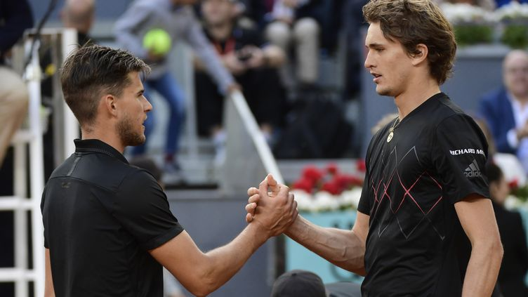 Dominic Thiem et Alexander Zverev (JAVIER SORIANO / AFP)