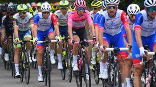 Le maillot rose Attila Walter (Groupama-FDJ) lors de la 7e étape du Tour d'Italie , le 14 mai 2021. (DARIO BELINGHERI / AFP)