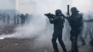 """Des policiers, lors de la manifestation parisienne des """"gilets jaunes"""", le 12 janvier 2019. (ALEXIS SCIARD  / MAXPPP)"""