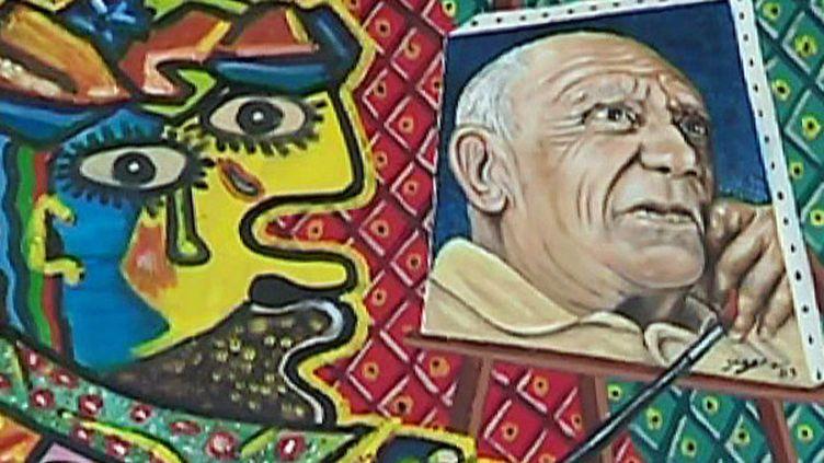 Un des tableaux de Serge (détail) exposé à l'Espace culturel La Gare  (France 3 Culturebox (capture d'écran))