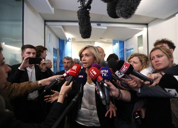 Valérie Pécresse, à la sortie du bureau politique des Républicains, organisé le lendemain des résultats des élections européennes, le 27 mai 2019. (JACQUES DEMARTHON / AFP)