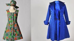 """Expo : """"Seventies, chacun ses audaces"""", un manteau matelassé bleu et une robe très colorée  (Musée du costume et de la dentelle de Bruxelles)"""