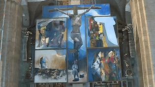 """""""L'Hommage à Bernanos"""" d'Arcabas est actuellement accroché dans le choeur de la basilique Saint-Sernin de Toulouse  (France 3 / Culturebox )"""