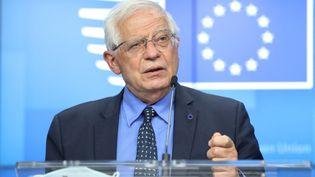 Le chef de la diplomatie européenne,Josep Borrell, donne une conférence de presse à Bruxelles (Belgique), le 10 mai 2021. (DURSUN AYDEMIR / ANADOLU AGENCY / AFP)