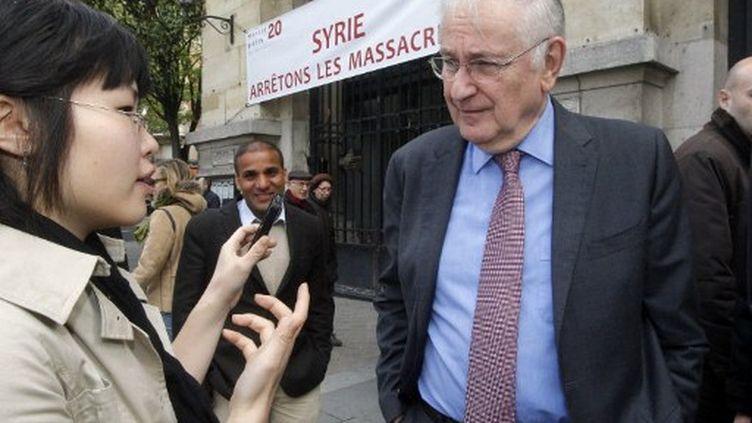 Jacques Cheminade lors d'une manifestation en soutien aux opposants syriens (PIERRE VERDY / AFP)