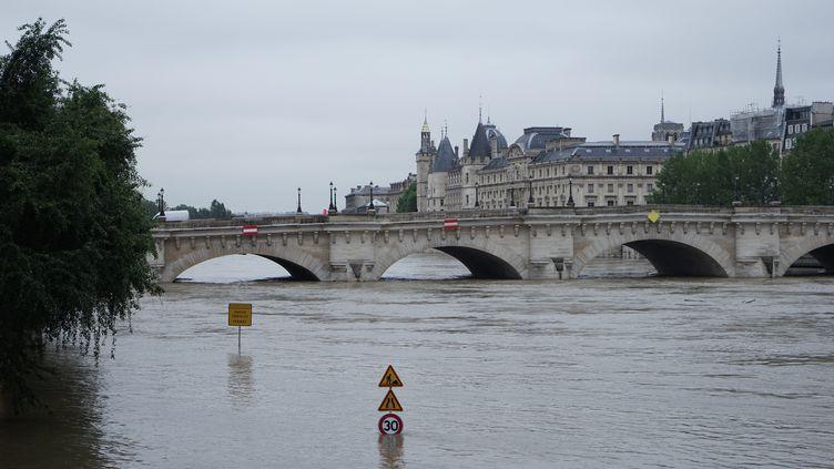La Seine en crue, sous le Pont Neuf, à Paris, le 3 juin 2016. (DAVID BERTHO / CITIZENSIDE / AFP)