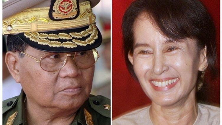 Le chef de la junte militaire birmane, le généralissime Than Shwe; l'opposante Aung San Suu Kyi (AFP)