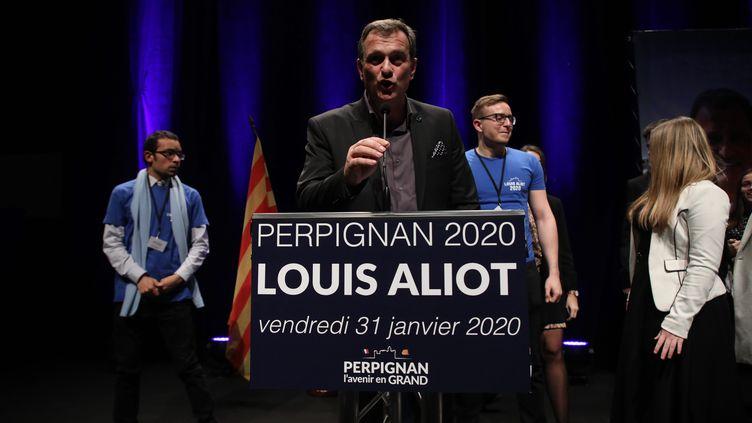 Louis Aliot lors d'un meeting le 31 janvier à Perpignan (LP/OLIVIER ARANDEL / MAXPPP)