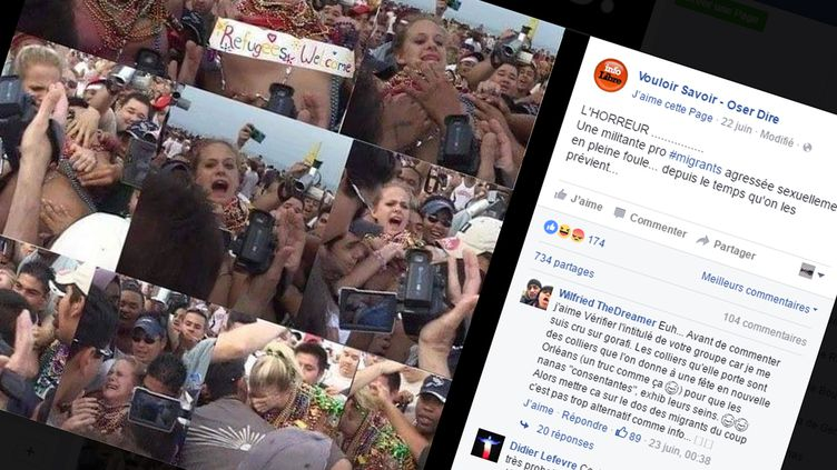 """(Non, cette série d'images ne montre pas l'agression """"d'une militante pro migrants"""" © Capture d'écran Facebook)"""