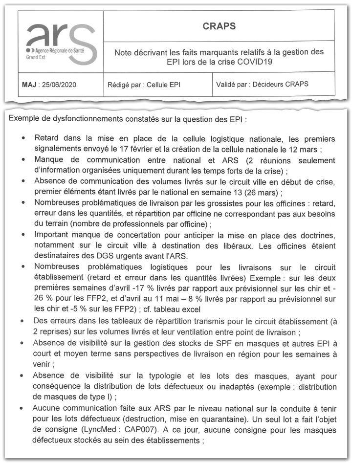 Extrait d'une note de la cellule régionale d'appui et de pilotage sanitaire Grand Est du 25 juin 2020, qui décrit les dysfonctionnements constatés sur la question des EPI. (CELLULE INVESTIGATION DE RADIOFRANCE)