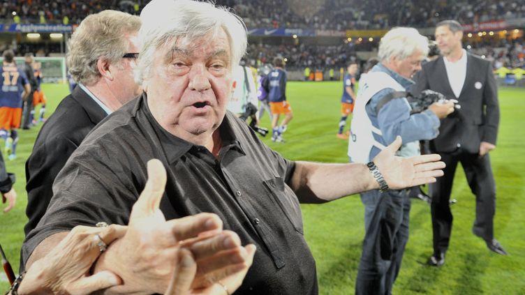 Le président du club de Montpellier, Louis Nicollin, à la fin du match contre Lille, le 13 mai 2012 au stade de la Mosson. (BORIS HORVAT / AFP)
