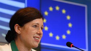 La commissaire européenne chargée des Valeurs et de la transparence, Věra Jourová, le 22 juin 2021 à Luxembourg. (JOHN THYS / POOL / AFP)