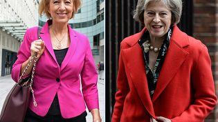 Les deux candidates au poste de Premier ministre britannique, Andrea Leadsom, le 3 juillet 2016, etTheresa May, le 22 février 2016, à Londres. (CHRIS J RATCLIFFE / AFP)