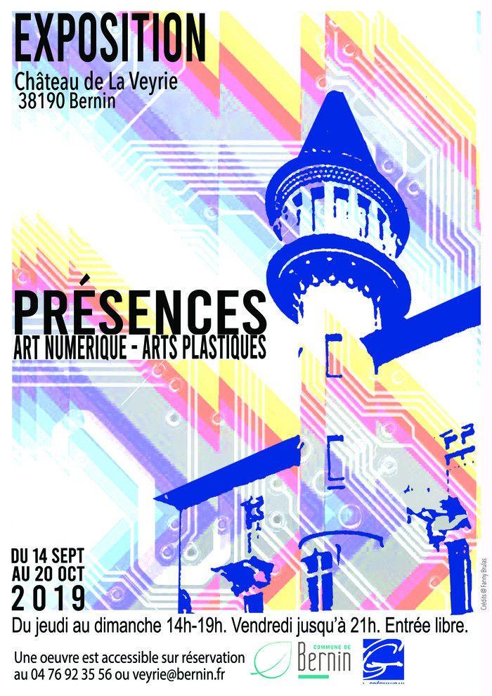 """Affiche de l'exposition """"Présences, Art numérique - Arts Plastiques"""" (Ville de Bernin)"""
