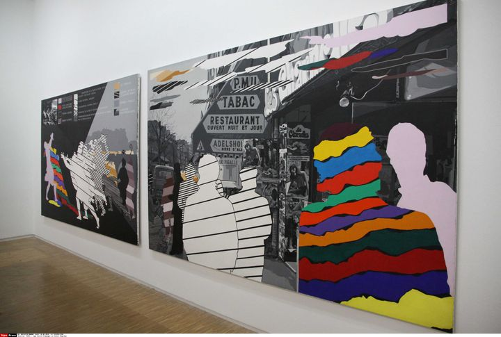 """harmonogram """"Hołd Tobino LeBronowi - 1977"""" Napisane przez Gerarda Fromanger, wystawione w Centrum Pompidou w Paryżu w 2016 roku (GINIES/SIPA)"""