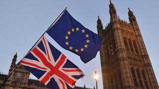 Le drapeau européen et l'Union Jack flottent devant le Parlement, à Londres (Royaume-Uni), lors d'une manifestation contre le Brexit, le 11 décembre 2017. (BEN STANSALL / AFP)