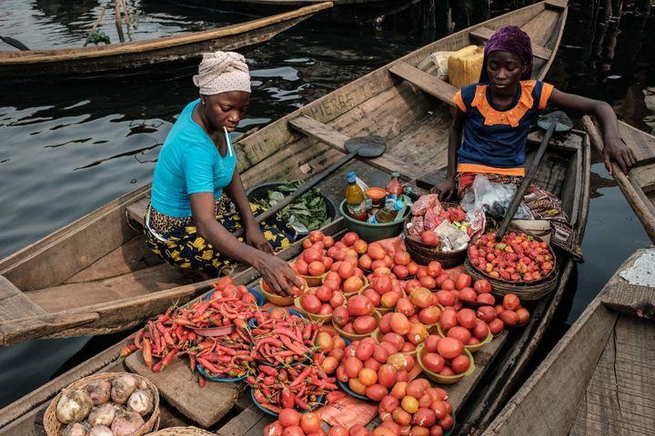 Vente de tomates sur la lagune de Lagos, au Nigeria. La tomate est une des culturessouffrantde la prolifération d'insectes allogènes. (YASUYOSHI CHIBA / AFP)