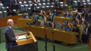 Joe Biden s'est exprimé à l'Assemblée générale des Nations unies, mardi 21 septembre, et a rappelé son attachement à la diplomatie après la rupture du contrat de sous-marins par l'Australie. (FRANCE 3)