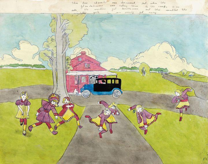 """Henry Darger. """"Leur véritable identité a été découverte, mais lorsqu'elles ont été emmenées au camp par les Glandeliniens, en voiture, le moteur a eu quelques ratés, ce qui a permis aux petites filles de prendre la fuite sans peine""""  (Eric Emo / Musée d'Art Moderne / Roger-Viollet © 2015 Kiyoko Lerner / ADAGP, Paris)"""