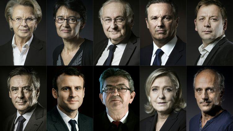 Montage des candidats déclarés à la présidentielle de 2017. (JOEL SAGET / AFP)