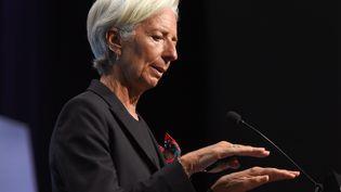 La directrice du FMI, Christine Lagarde, intervient à la fin du G20 des ministres des Finances, à Cairns (Australie), le 21 septembre 2014. (WILLIAM WEST / AFP)