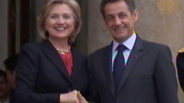 Hillary Clinton, secrétaire d'Etat américaine à l'Elysée, le 29 janvier 2010. (France 2)