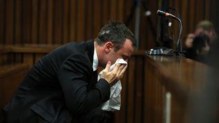 L'athlète Oscar Pistorius fond en larmes lors de son procès pour le meurtre de sa compagne, le 7 avril 2014 à Pretoria (Afrique du Sud). (THEMBA HADEBE / AFP)
