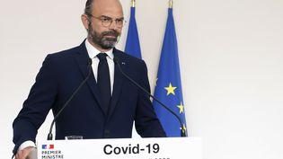 """Le Premier ministre, Edouard Philippe, lors du """"point de situation"""" sur le Covid-19, le 19 avril 2020 à Paris. (THIBAULT CAMUS / AFP)"""