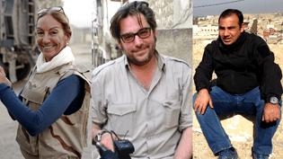 """""""Soudain, le monde éclate..."""" Véronique Robert,Stephan Villeneuve, Bakhtiyar Haddad sont morts, victimes d'une mine à Mossoul. (KARIM SAHIB / AFP)"""