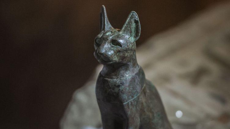 Elle est la déesse de la joie du foyer et de la maternité. Elle protège la mère et l'enfant et détient le pouvoir magique de l'énergie charnelle. Dans toute l'Egypte, on lui vouait un culte tout particulier. Le chat qui est sa représentation vivante était tout autant vénéré, d'où ces sépultures. (Khaled Desouky/AFP)