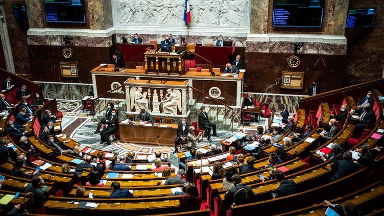 L'hémicycle de l'Assemblée nationale, le 18 mai 2021 à Paris. (XOSE BOUZAS / HANS LUCAS / AFP)