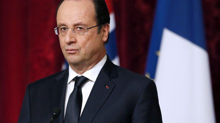 Le président français, François Hollande, lors d'une conférence de presse à l'Elysée, le 3 février 2014. (PATRICK KOVARIK / AFP)