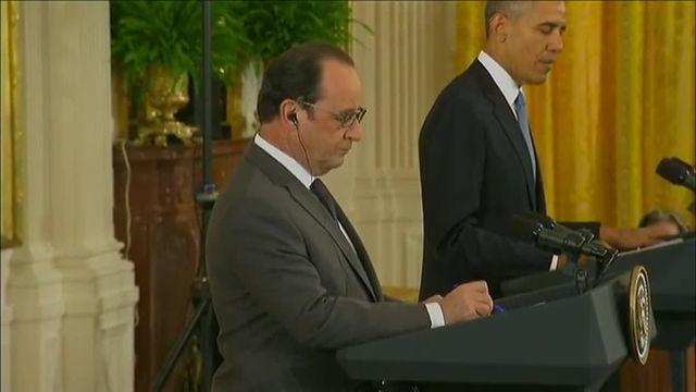 """Obama qui reçoit Hollande : """"Nous sommes tous Français"""""""