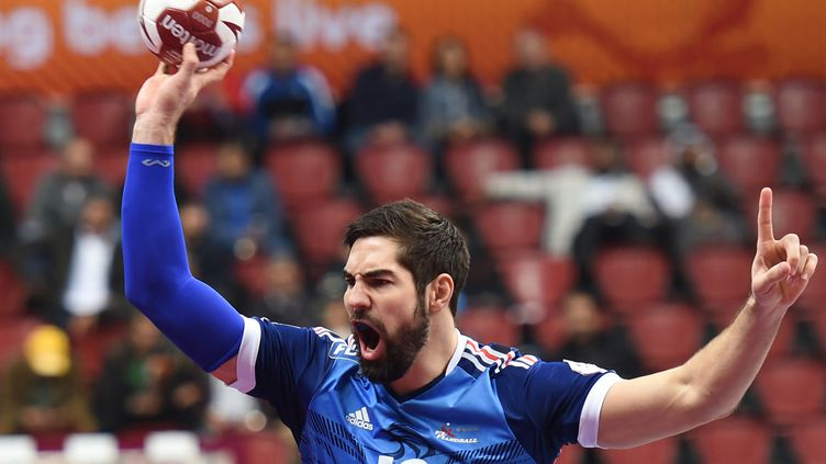 Nikola Karabatic, le 20 janvier 2015, lors du match France-Islande. (FAYEZ NURELDINE / AFP)