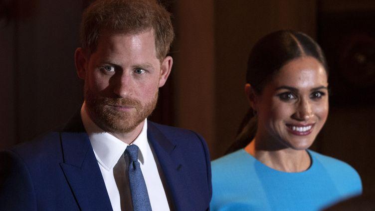 Le prince Harry et son épouse Meghan, le 5 mars 2020 à Londres. (JUSTIN TALLIS / AFP)